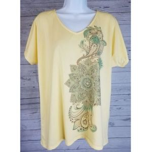 Zenergy by Chicos Short Sleeve Top Sz Med Yellow